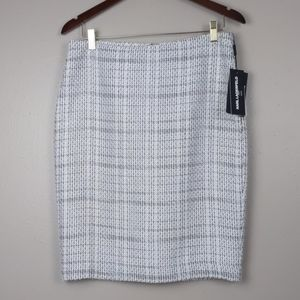 Karl Lagerfeld-Black & white lined tweed skirt
